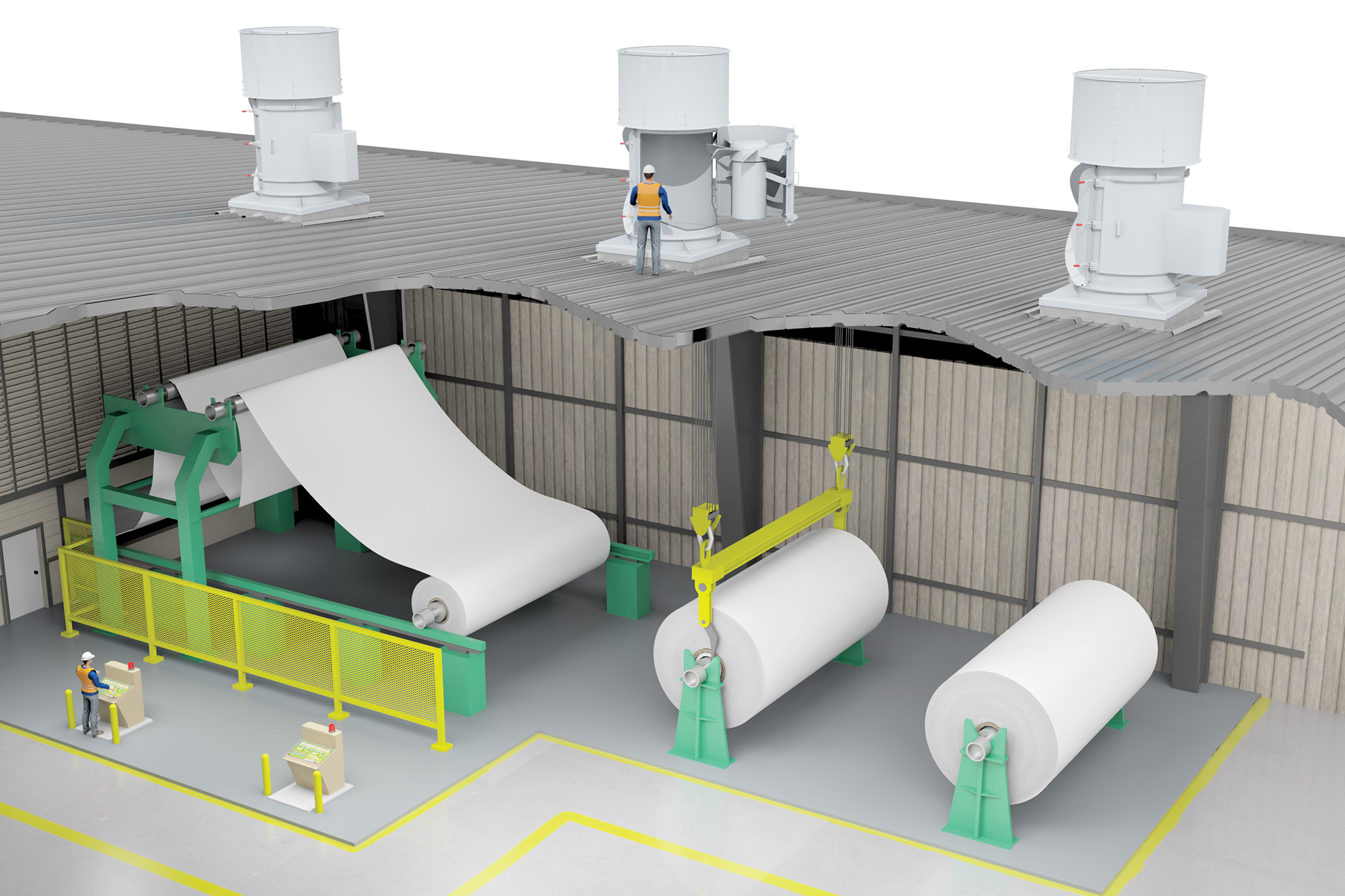 Paper Mill Axial Swingout (Application) Modo Rendering