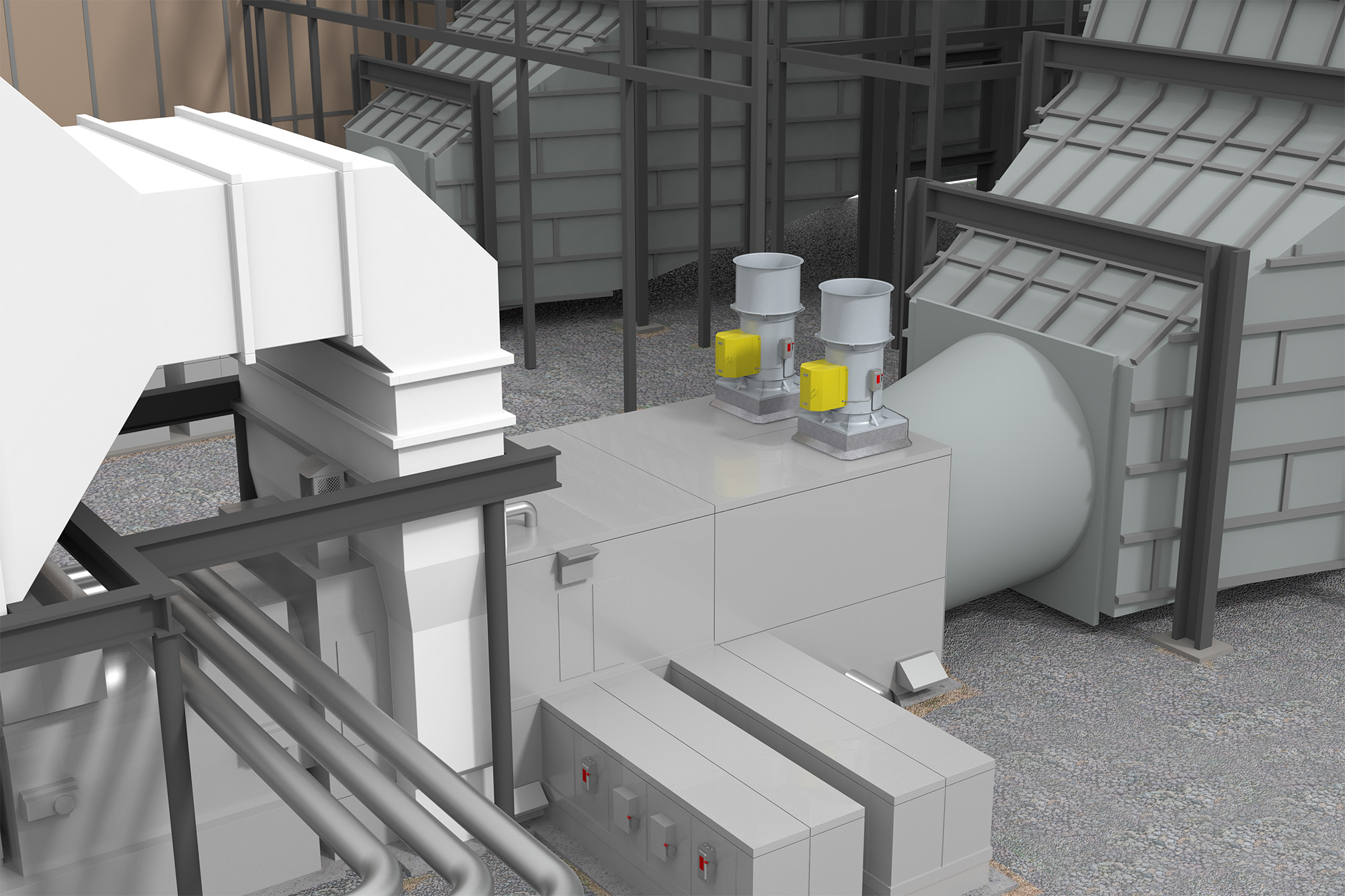 VJ Gas Turbine Plant (Application) Modo Rendering